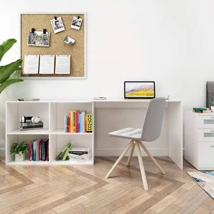 bureau d angle avec rangement 4 etageres angulaire reversible bureau informatique bois blanc mondeer