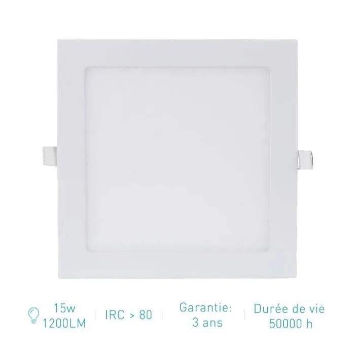 spot led carre encastrable extra plat 15w 1200lm equivalent 150w blanc neutre 4500k