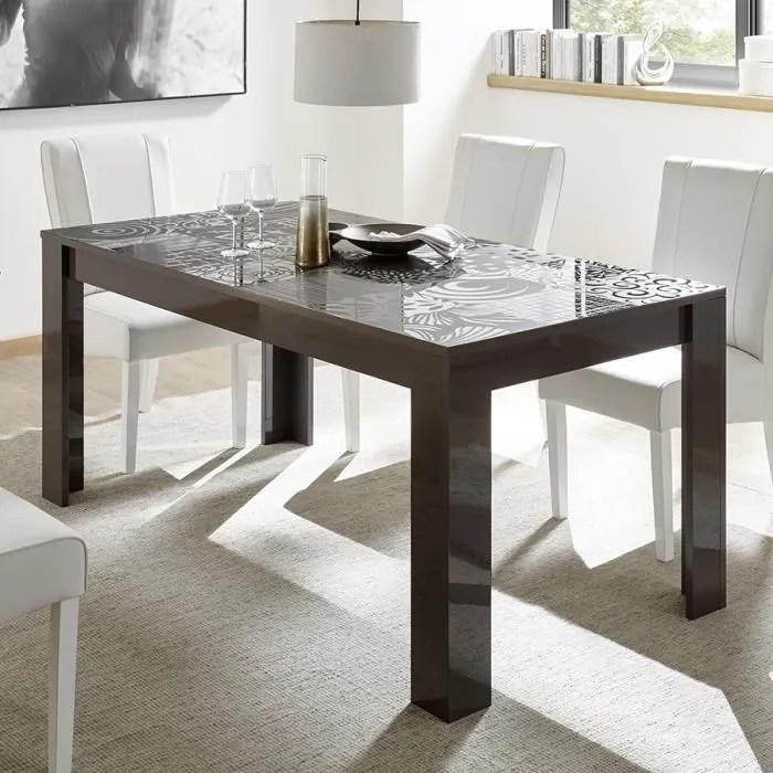 table extensible 140 cm design gris laque nerina 2 l 185 x p 90 x h 79 cm gris