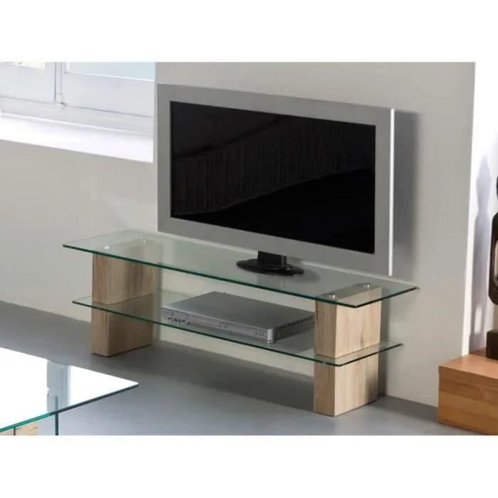 meuble tv 2 plateaux en verre trempe