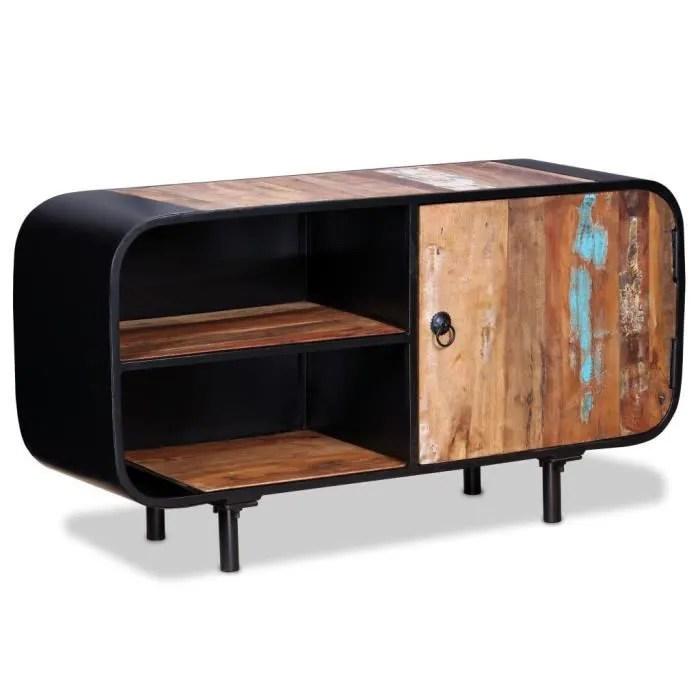 ovsky meuble tv style industriel bois