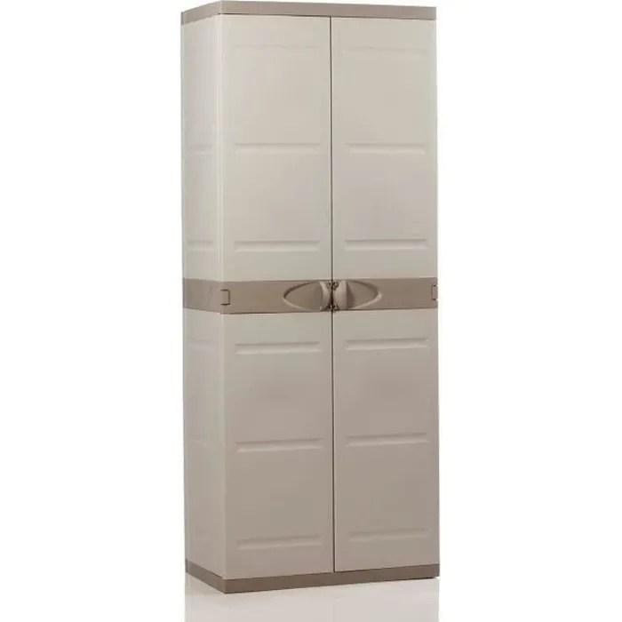 titanium plastiken armoire haute 2 portes avec etageres 70 x 44 x 176 cm beige et taupe gamme titanium interieur et exterieur