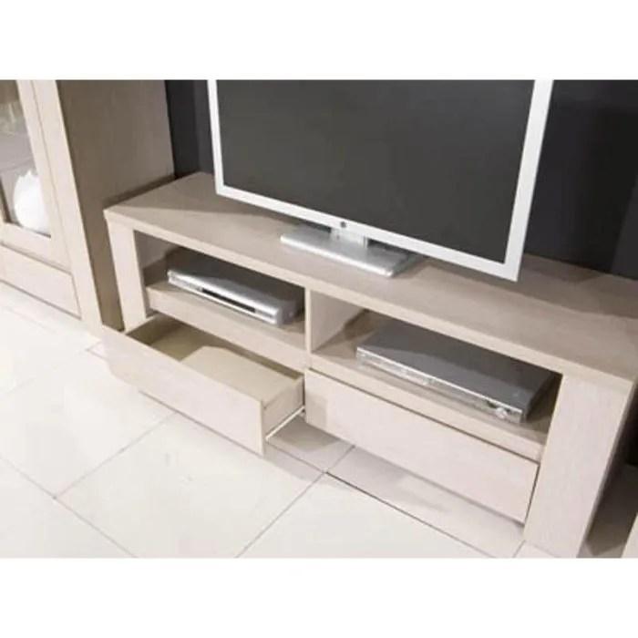meuble tv 2 tiroirs couleur bouleau