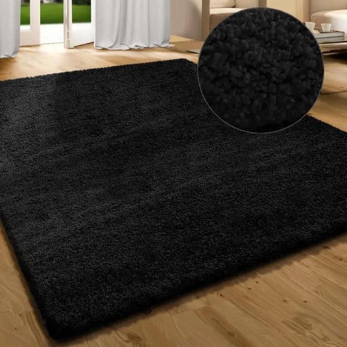 tapis salon shaggy noir 133x195 cm tapis poils