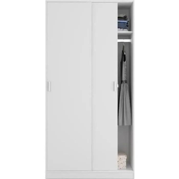 armoire avec 2 portes coulissantes coloris blanc