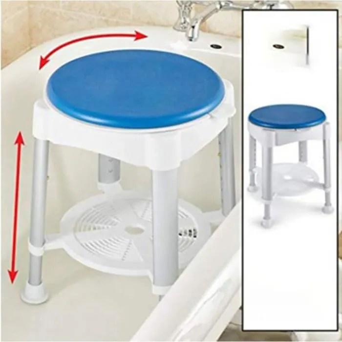 tabouret de salle de bain pivotant a hauteur regla