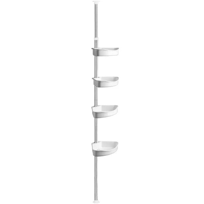 tectake etagere de douche d angle 4 tablettes telescopique jusqu a 250 cm