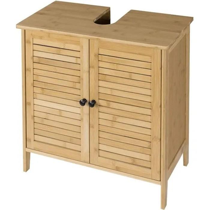 eugad meuble sous lavabo en bambou armoire de rangement pour salle de bain 60x30x60cm nature