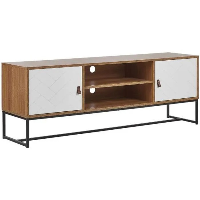 meuble tv en bois clair et blanc