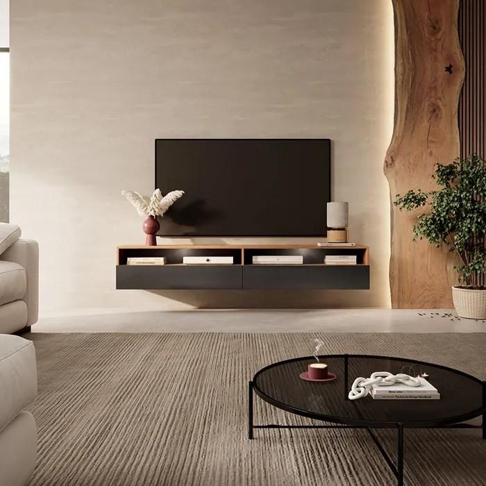 meuble tv bois et noir 180 cm