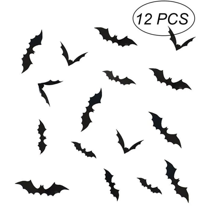 12 pieces 3d chauve souris autocollant mural horrible decoratif halloween pour chambre couloir salon stickers lettres adhesives