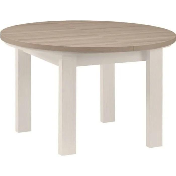 table de repas ronde a allonge frene blanchi pompei l 120 150 x l 120 x h 79