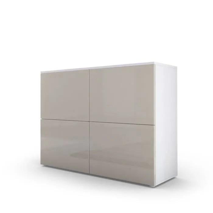 commode moderne blanche et grise sablee facades laquees et corps mat
