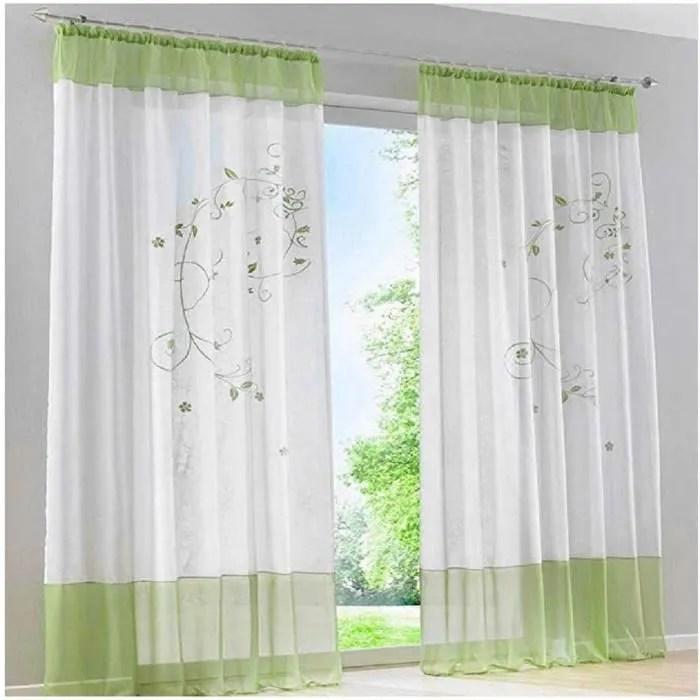 1pc rideaux voilages a pattes rideaux de fenetre transparent broderie pour decoration de la chambre 140cmx225c vert blanc