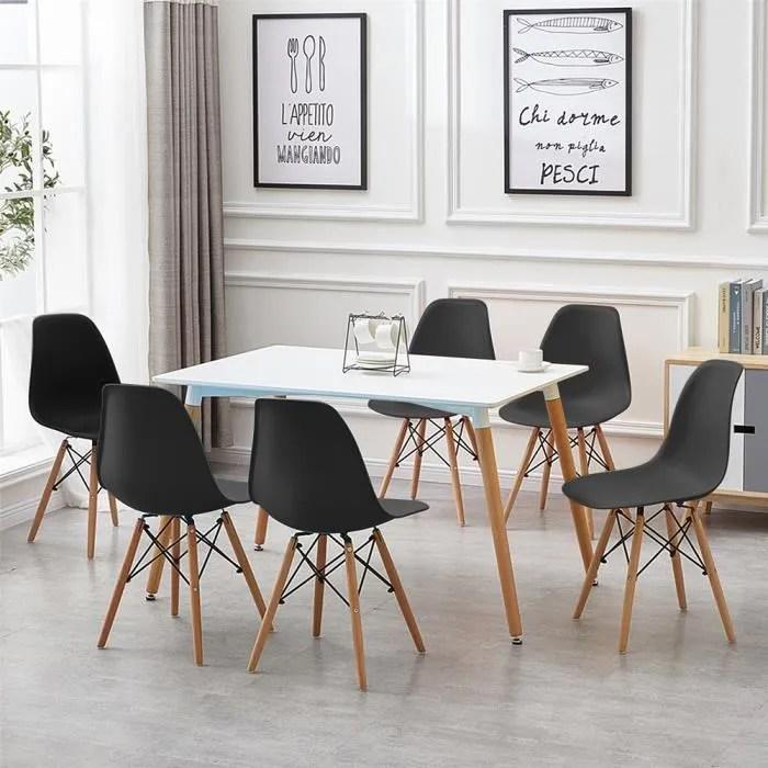 ag chaises scandinave lot de 4 chaises de salle a manger pied de bois noir