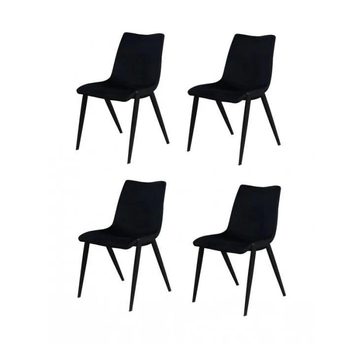 lot 4 chaises tissu velours noir