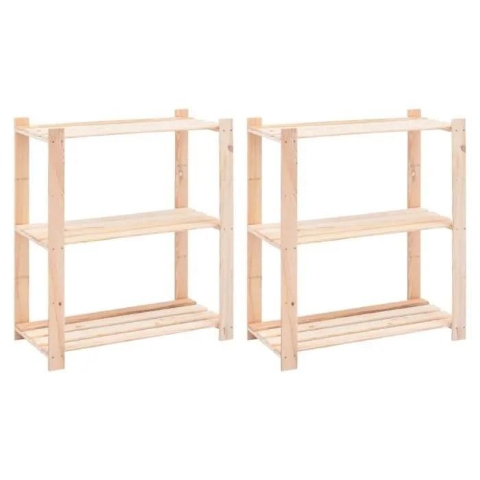 etageres de rangement pour garage etagere d atelier bibliotheque a 3 niveaux 2 pcs 80x38x90 cm pin 150 kg