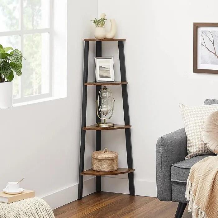 vasagle bibliotheque d angle etagere de meuble meuble de rangement pour maison salon chambre balcon retro noir lls34x