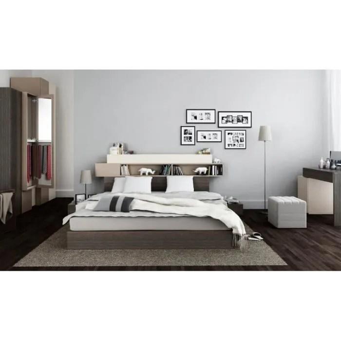 lit avec tete de lit rangements hifi