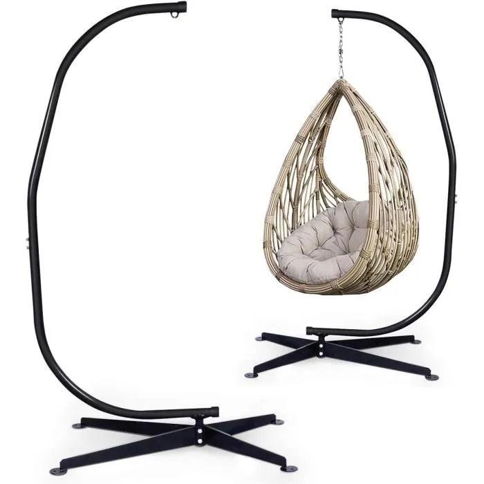 costway support de hamac support pour fauteuil suspendu charge max 150 kg hauteur 210 cm en acier coloris noir