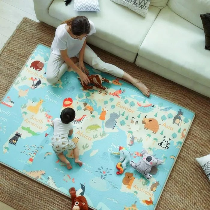 lontek tapis de jeu pour enfants facile a nettoye