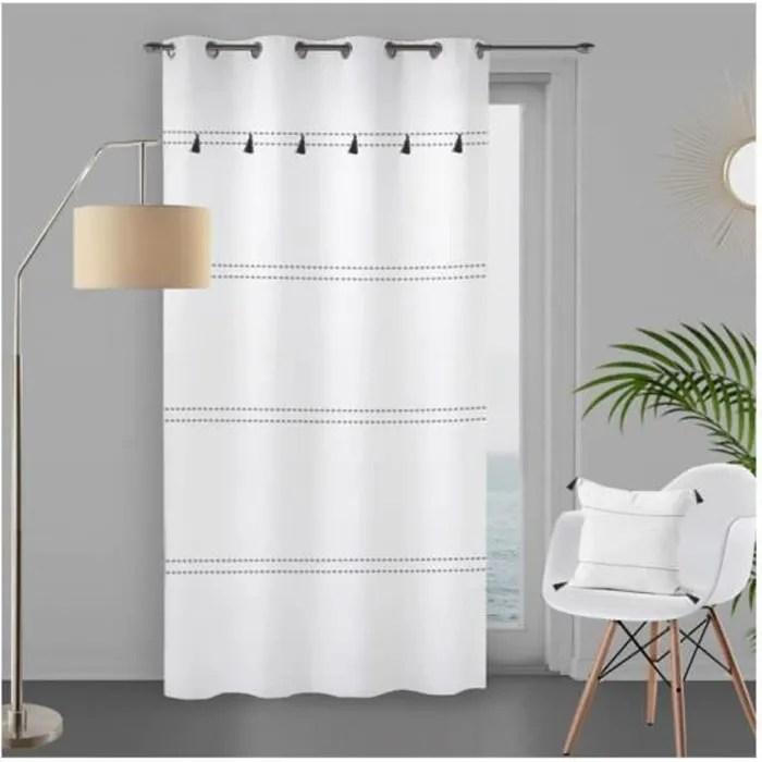 rideau coton a oeillets 135x250cm julia blanc par