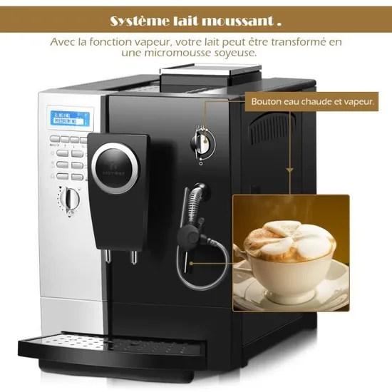 machine a cafe automatique 19 bar cafetiere expresso avec mousseur a lait broyeur a cafe filtre 2l noir 47 5x37x27cm