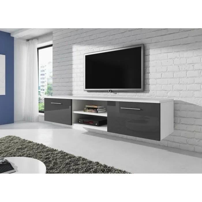 meuble tv suspendu 150 cm blanc mat avant gris bri