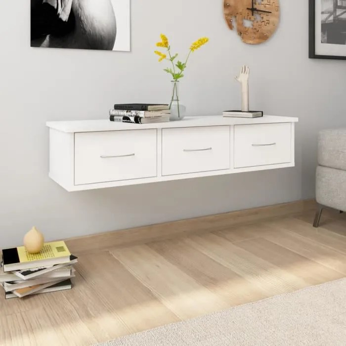 etagere murale avec tiroirs blanc 90x26x18 5 cm agglomere