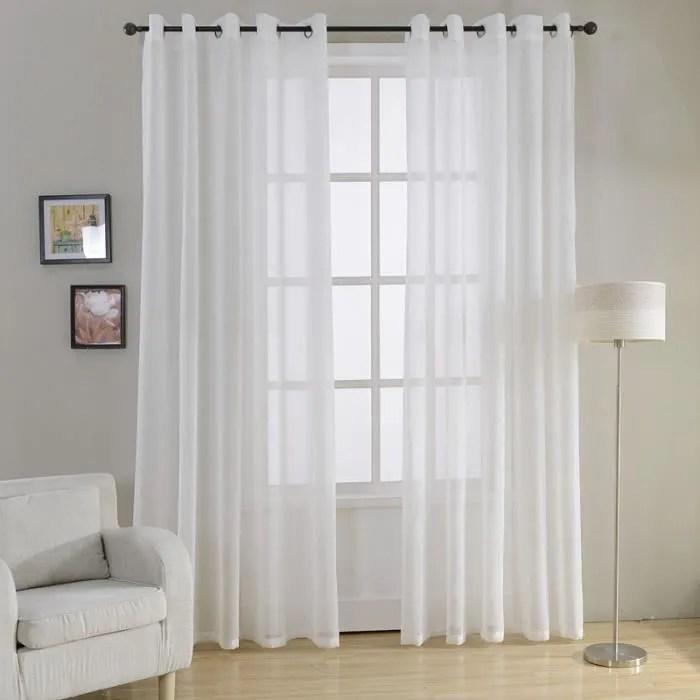 lot de 2 rideaux voilages a oeillets 140cmx215cm blanc