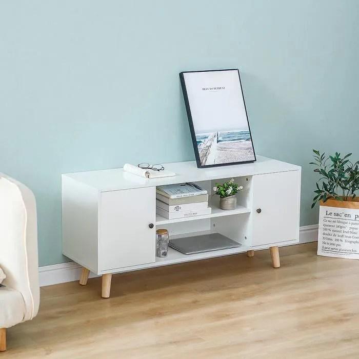 meuble tv pour salon blanc en mdf et bois massif s
