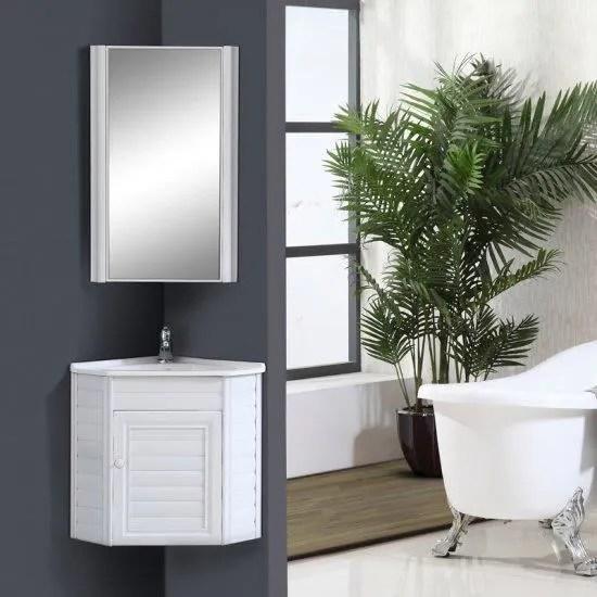 meuble pour lave mains d angle blanc