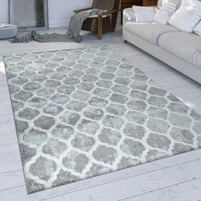 tapis a poils ras gris salon design oriental motif