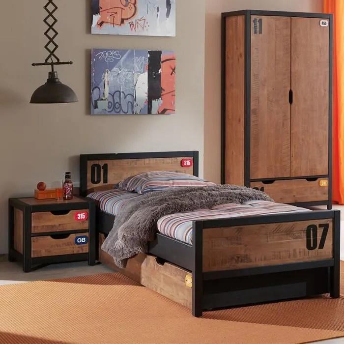 bois bronx armoire 2 portes marron lit