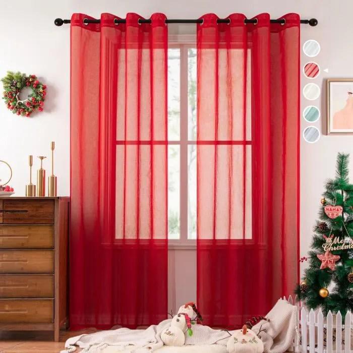 rideau voilage noel 2 panneaux rouge 140x260cm