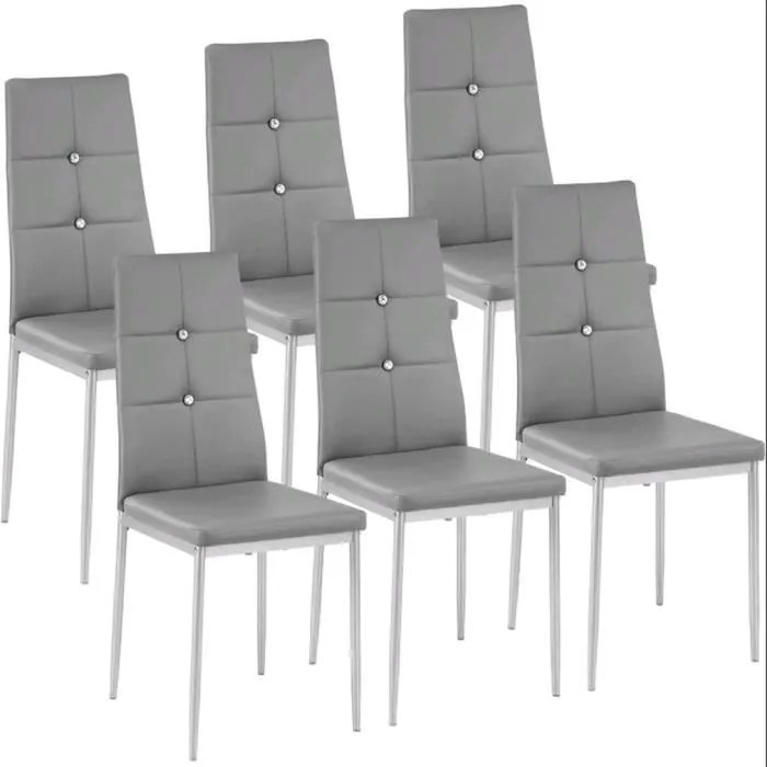 lot de 6 chaises de salle a manger sieges capitonnes diamond decoration gris