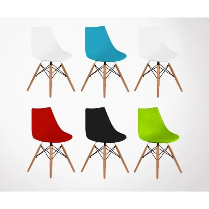 lot 6 chaises style dsw diva couleurs