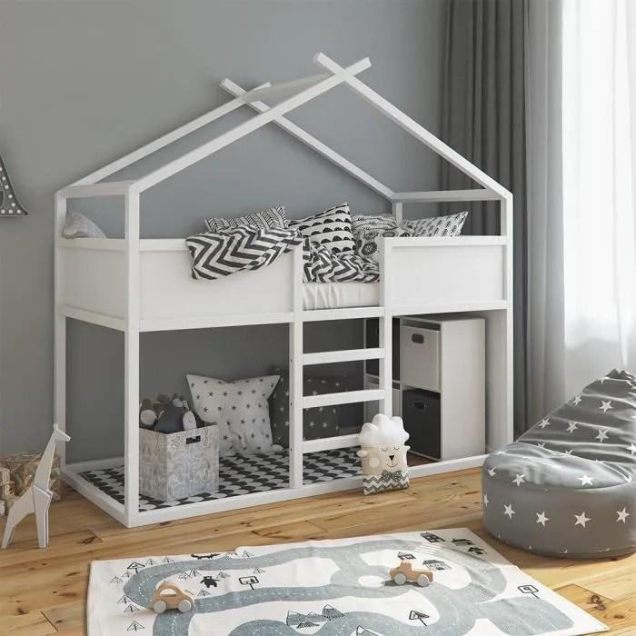 lit mezzanine vitalispa merlin lit avec aire de jeux lit pour enfant bois d aulne blanc lit d adolescent lit cabane