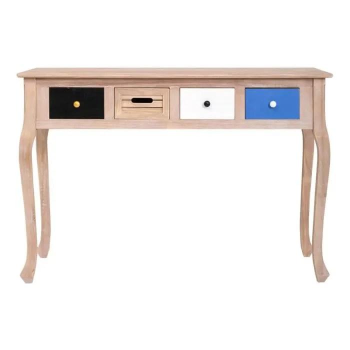 mobili rebecca console table haute 4 tiroirs bois