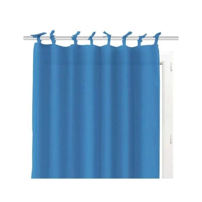 voilage en coton avec nouettes 140x240 cm panama bleu voile a nouettes sobre classique et uni dimension 140x240 cm composition