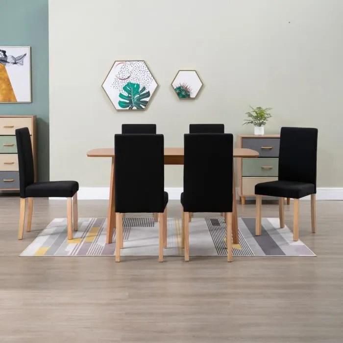 lot de 6 chaises de salle a manger salon chambre chaises scandinaves modernes a dossier haute noir tissu 42 51 95 cm