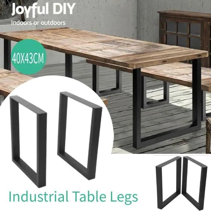 2 pcs pieds de tables acier 40x43cm metal revetu par poudre pour les meubles a la maison noir