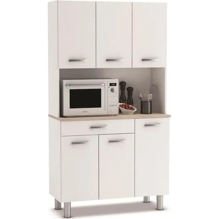 buffet de cuisine meuble de cuisine coloris acacia blanc mat 101 x 185 3 x 42 3 cm