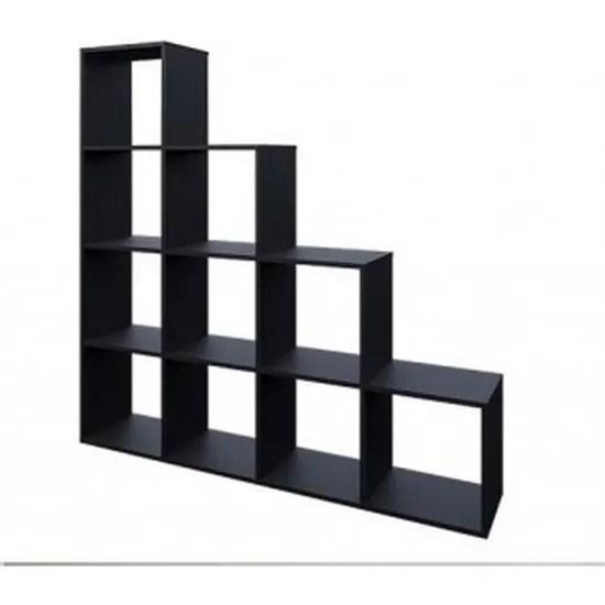etagere escalier 10 cases en noir