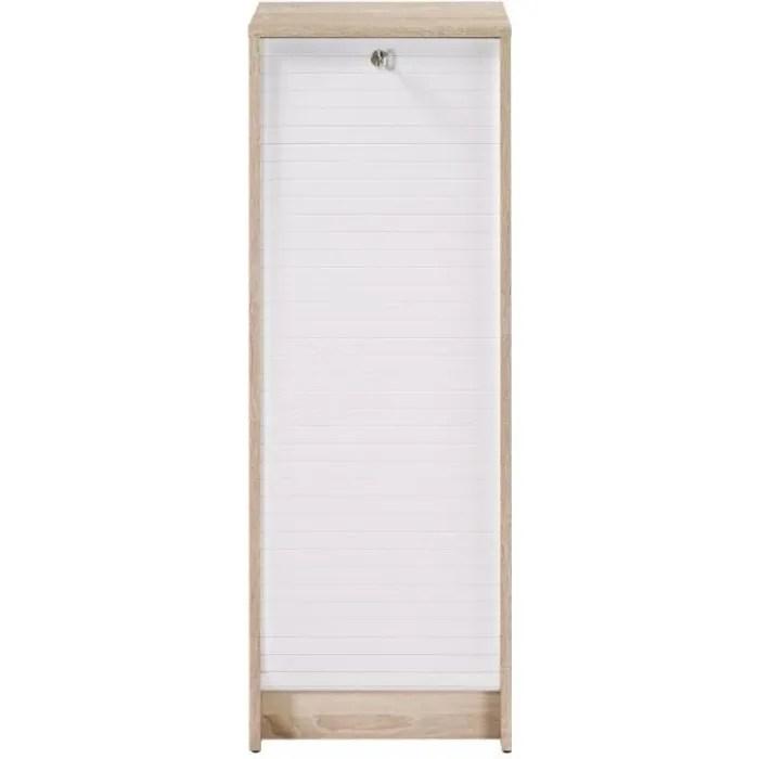 classeur a rideau chene bicolore coloris blanc simmob rangements de bureau bureau