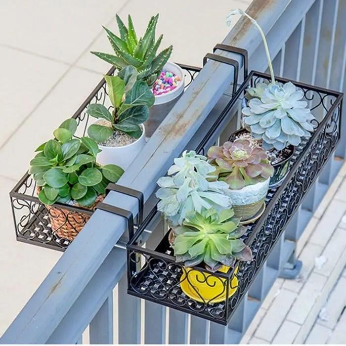 support des plantes en metal pots de fleurs a suspendre pour une cloture ou un balcon avec crochet amovible
