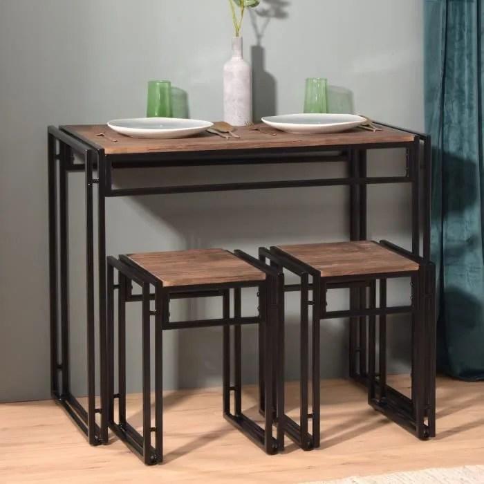 ensemble table a manger et chaises style industriel 1 table et 2 chaises