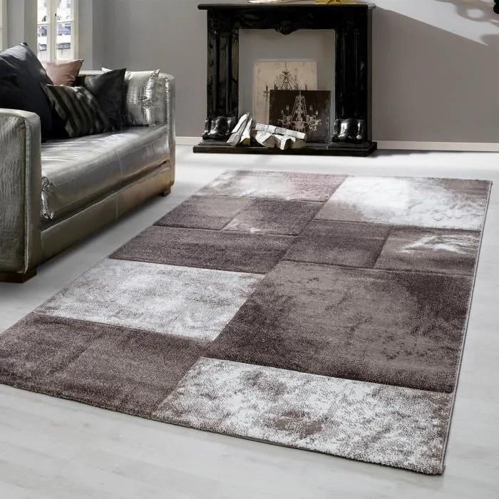 tapis design moderne pour salon a poil court a carreaux marbres 3 d b 1710 80x150 cm