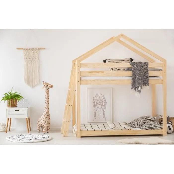 lit superpose 2 places lit cabane enfant zoe doblo 90 x 140 cm avec sommier 2 places en bois naturel