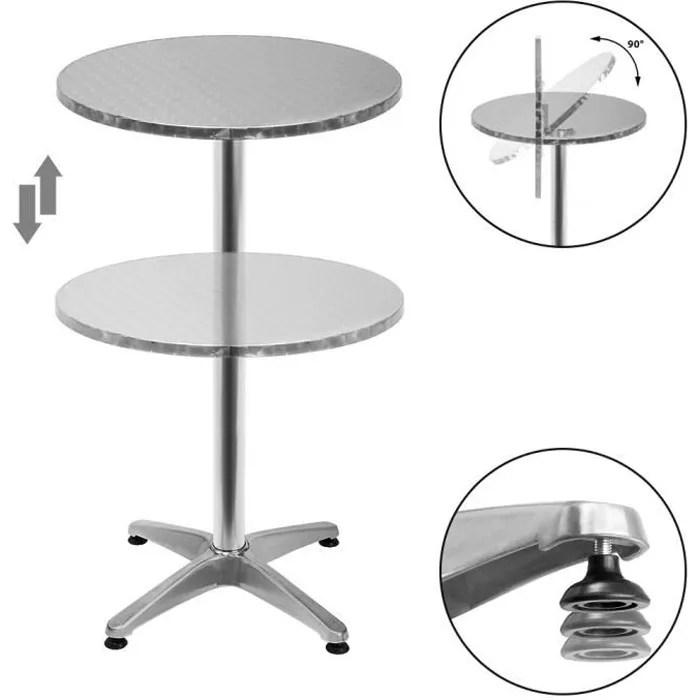 table de bar 2en1 alu hauteur reglable 70cm 110cm cuisine jardin terrasse